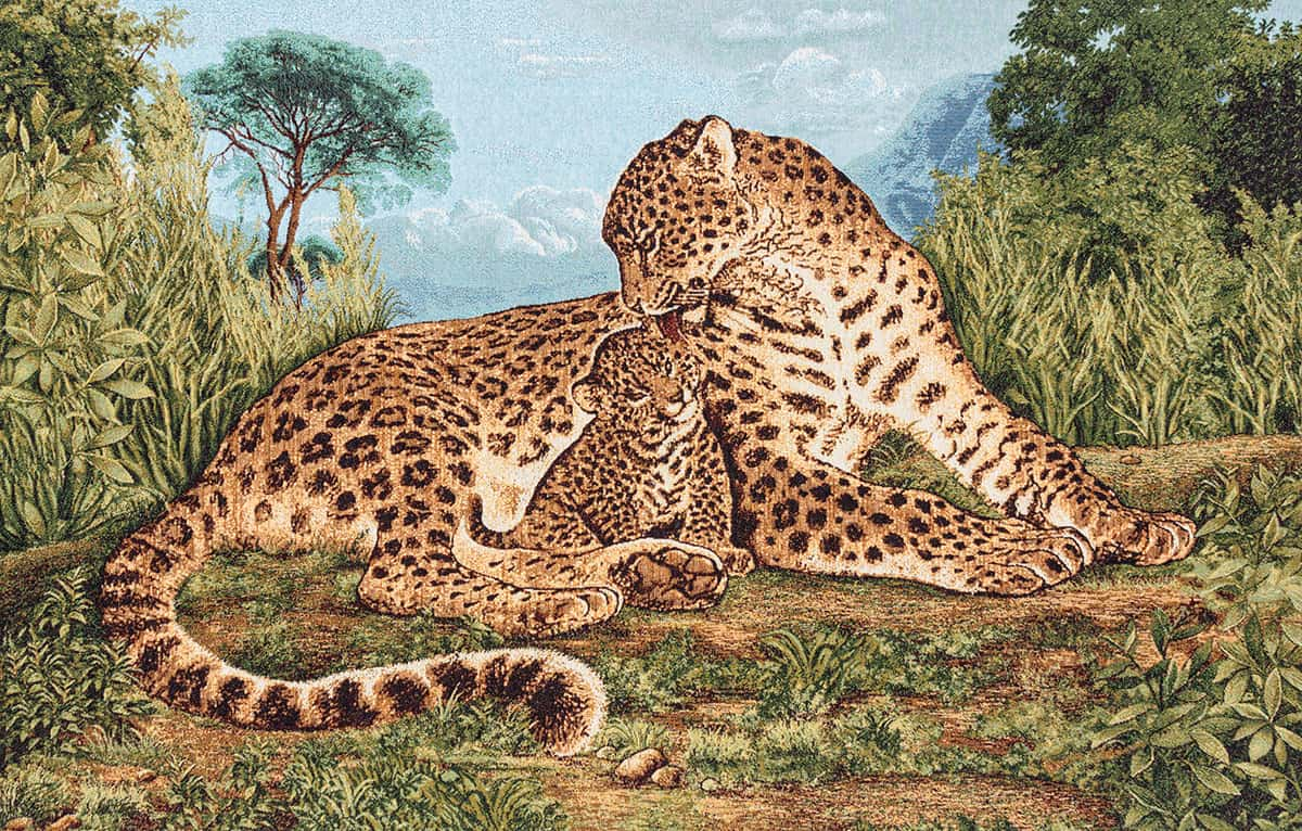 Cheetah with puppy tapestry