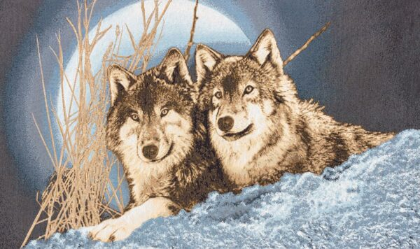 Tapestry Wolves in the snow with full moon