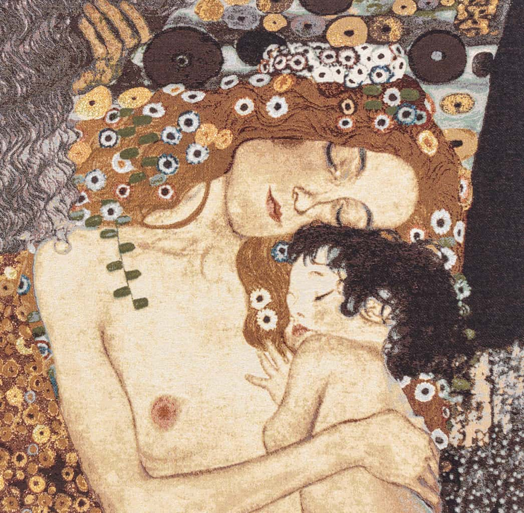 "Tapestry depicting the painting ""the three ages of woman"" by Gustav Klimt detail of ""Maternity"""