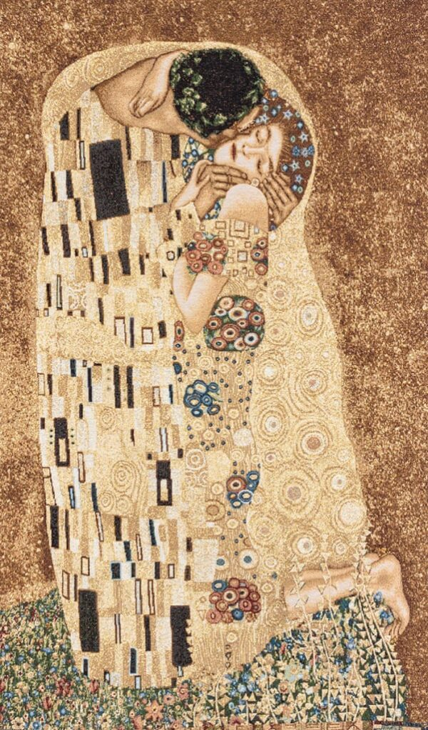 "Tapestry depicting ""The Kiss of Gustav Klimt"""