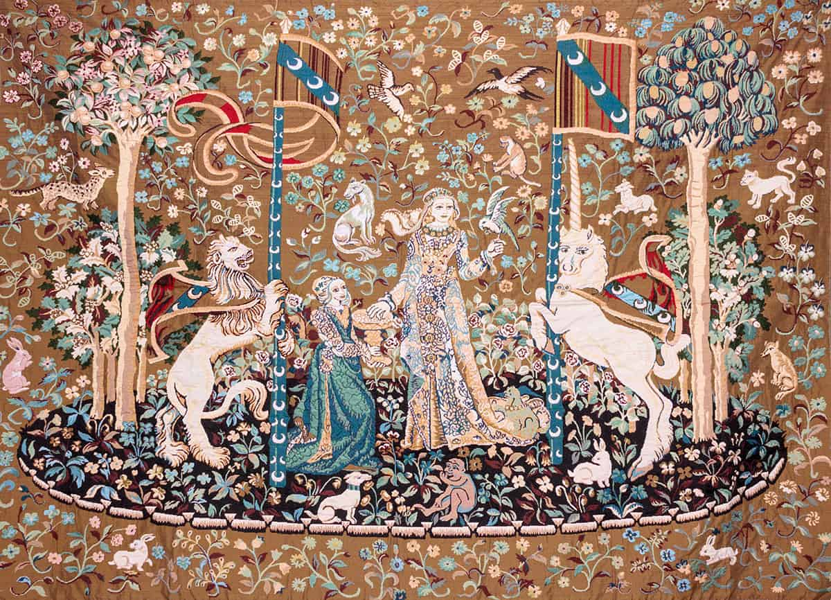 French Tapestry depicting the ledy with Unicorn and rampant Lion -Clouny