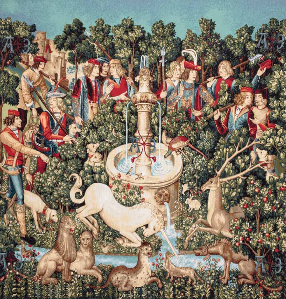 Unicorn hunting tapestry