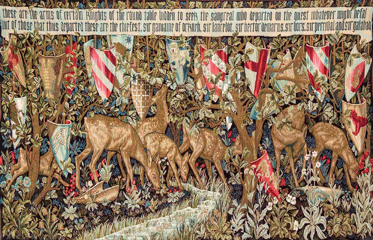 Tapestry The forest with deer and shields - William Morris