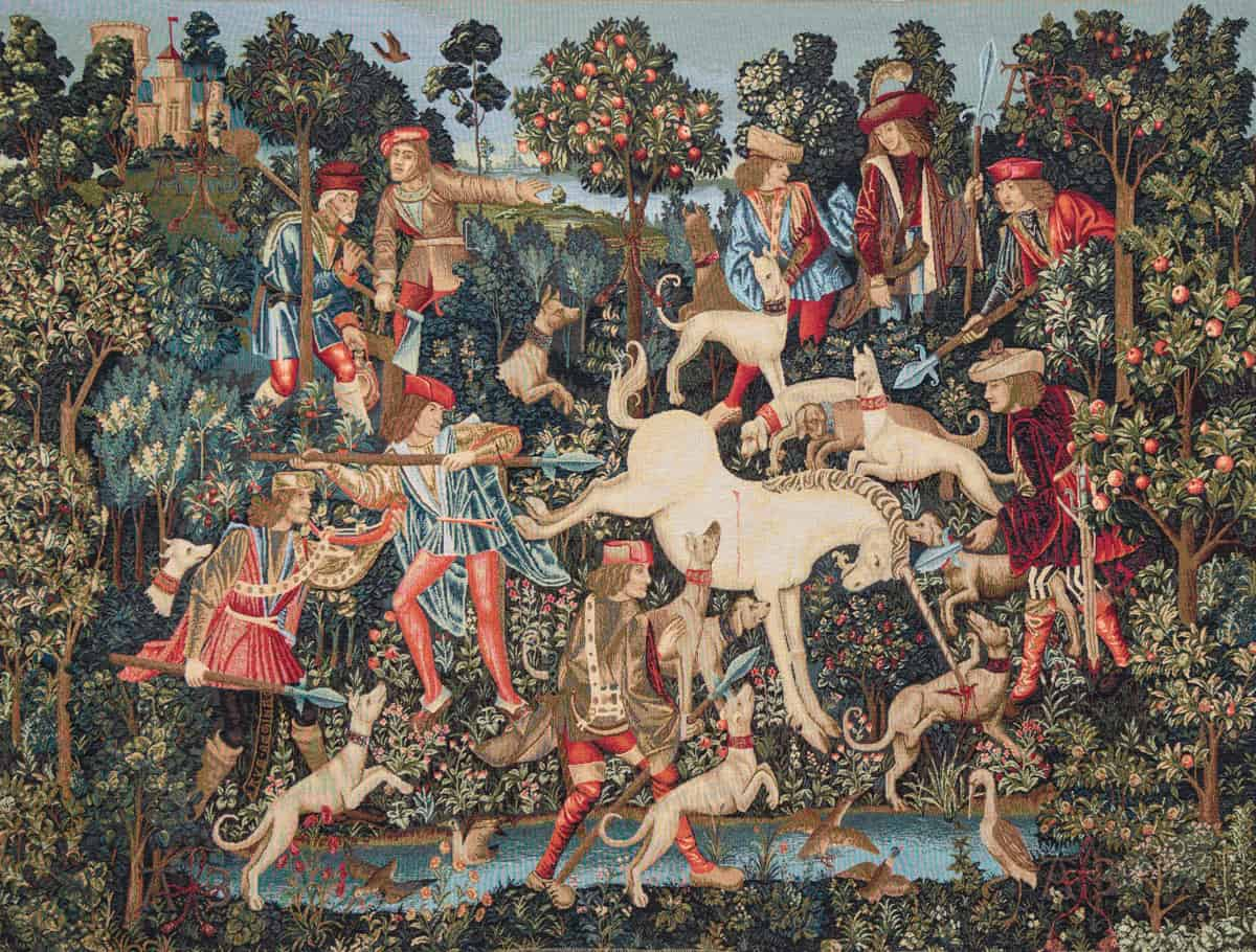 Tapestry representing medieval hunting scene at a unicorn