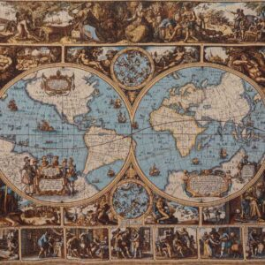 Tapestry depicting a map of the Vatican Museums gallery