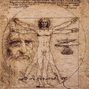 "Tapestry representing the work of Leonardo ""Vitruvian Man"""