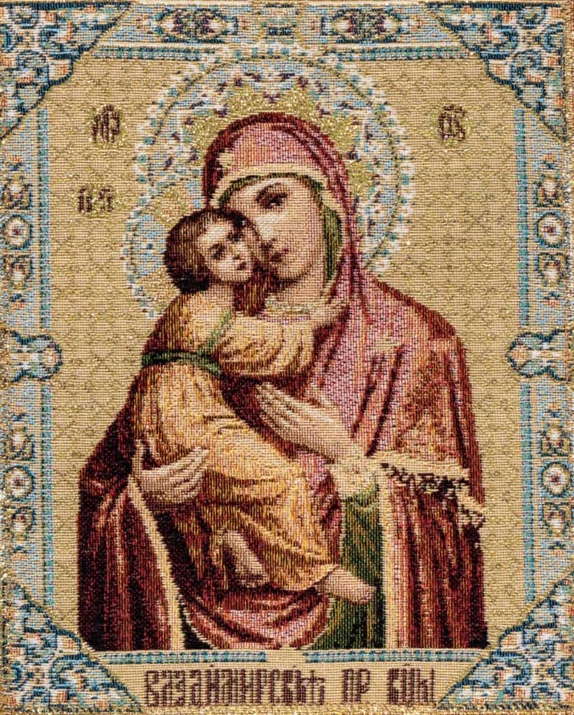 Tapestry Madonna icon with child
