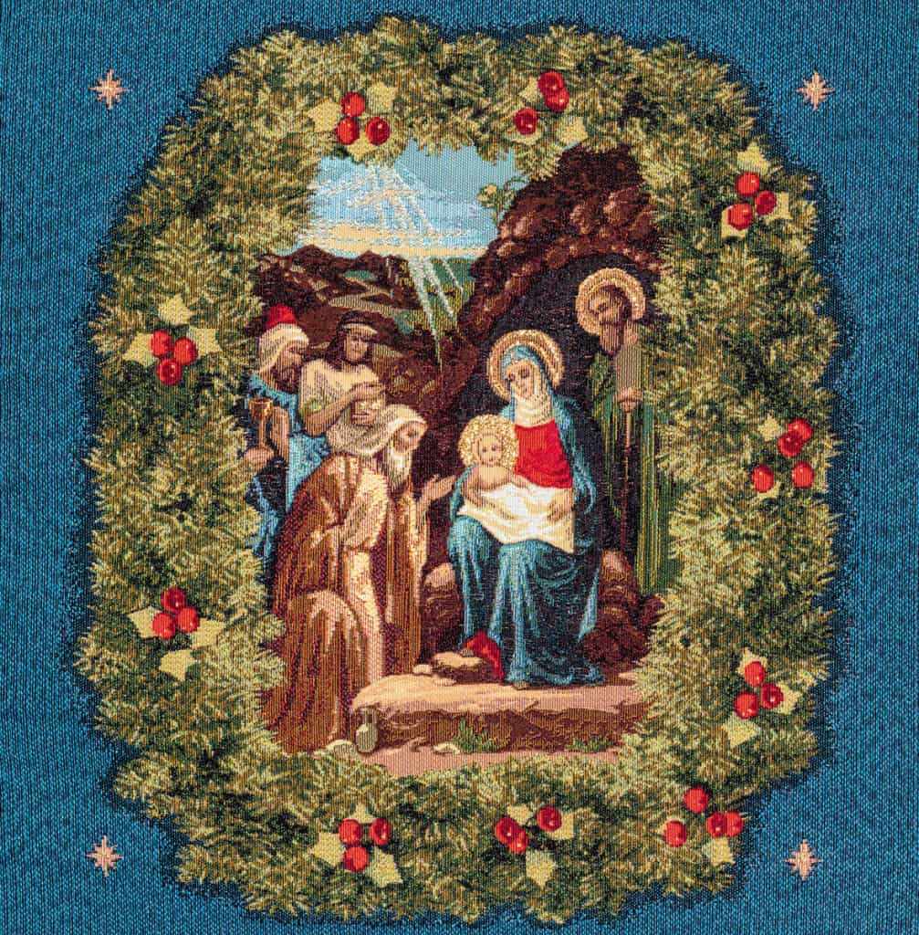 Nativity Tapestry blue background