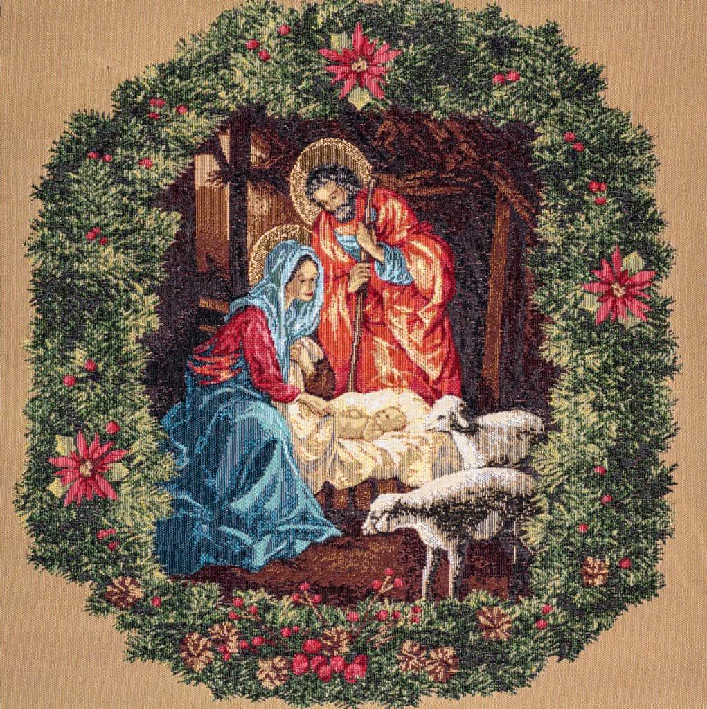 Tapestry Nativity crib beige
