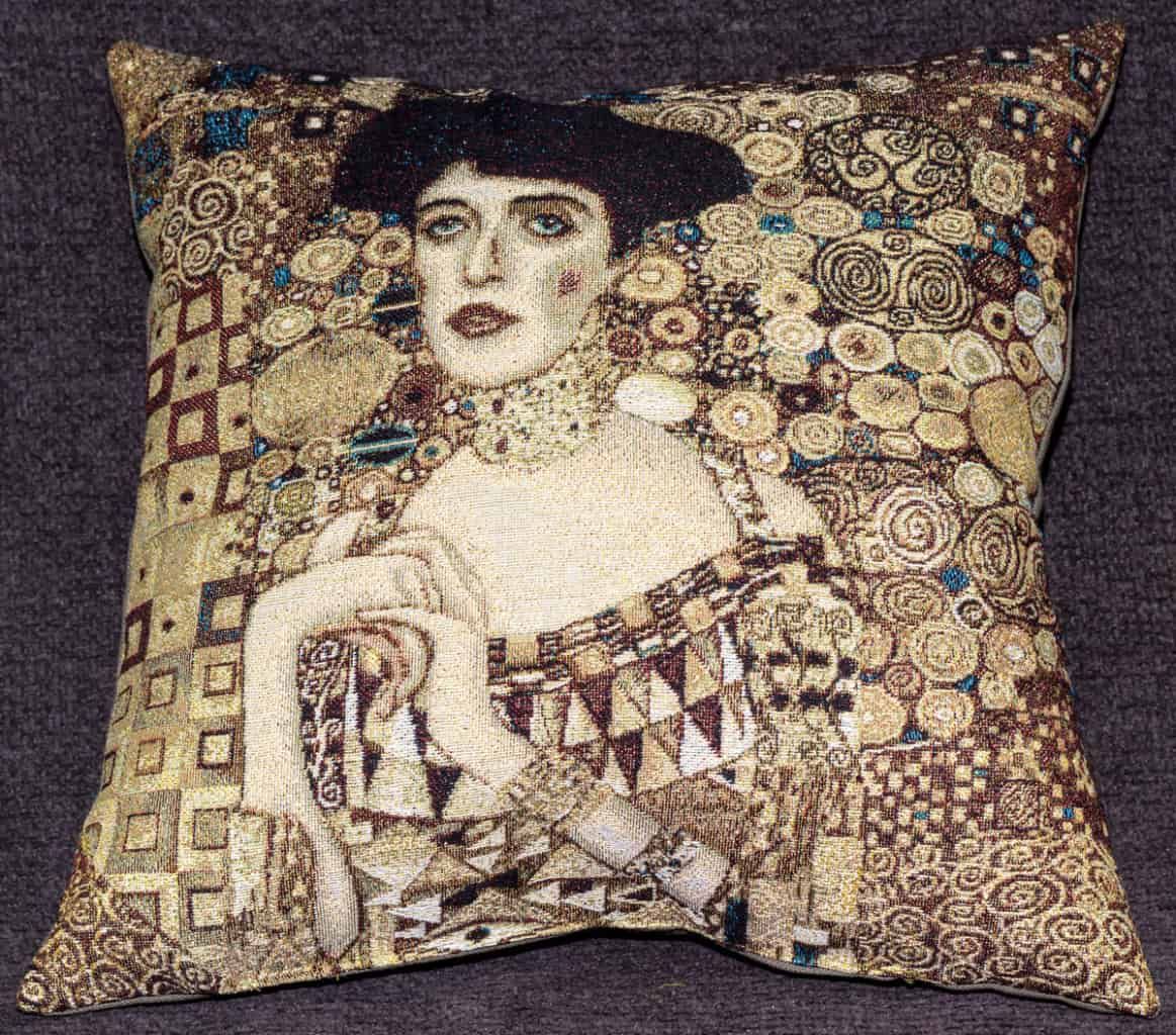"Tapestry depicting ""Adele"" by Gustav Klimt"
