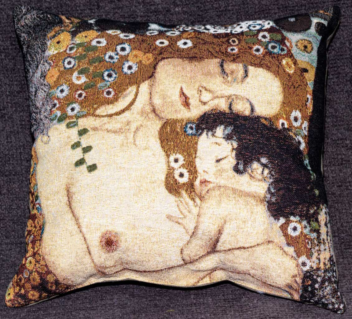"Tapestry depicting ""The Three Ages of Woman"" by Gustav Klimt"