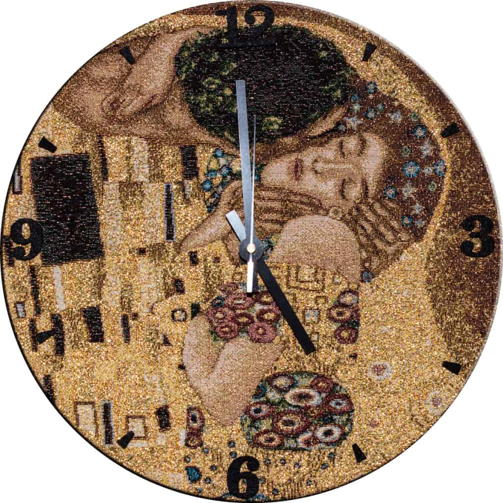 "Tapestry wall clock ""The Kiss"" Gustav Klimt"